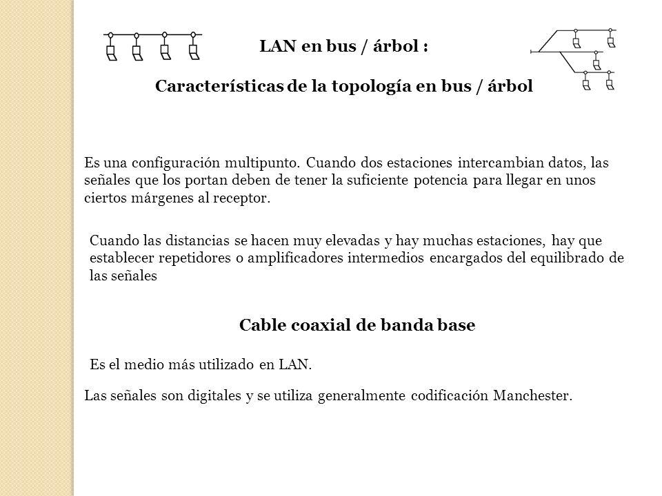 LAN en bus / árbol : Características de la topología en bus / árbol Es una configuración multipunto. Cuando dos estaciones intercambian datos, las señ