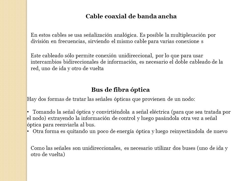 Cable coaxial de banda ancha En estos cables se usa señalización analógica. Es posible la multiplexación por división en frecuencias, sirviendo el mis