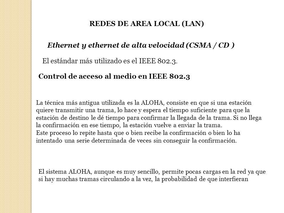 REDES DE AREA LOCAL (LAN) El estándar más utilizado es el IEEE 802.3. Ethernet y ethernet de alta velocidad (CSMA / CD ) Control de acceso al medio en