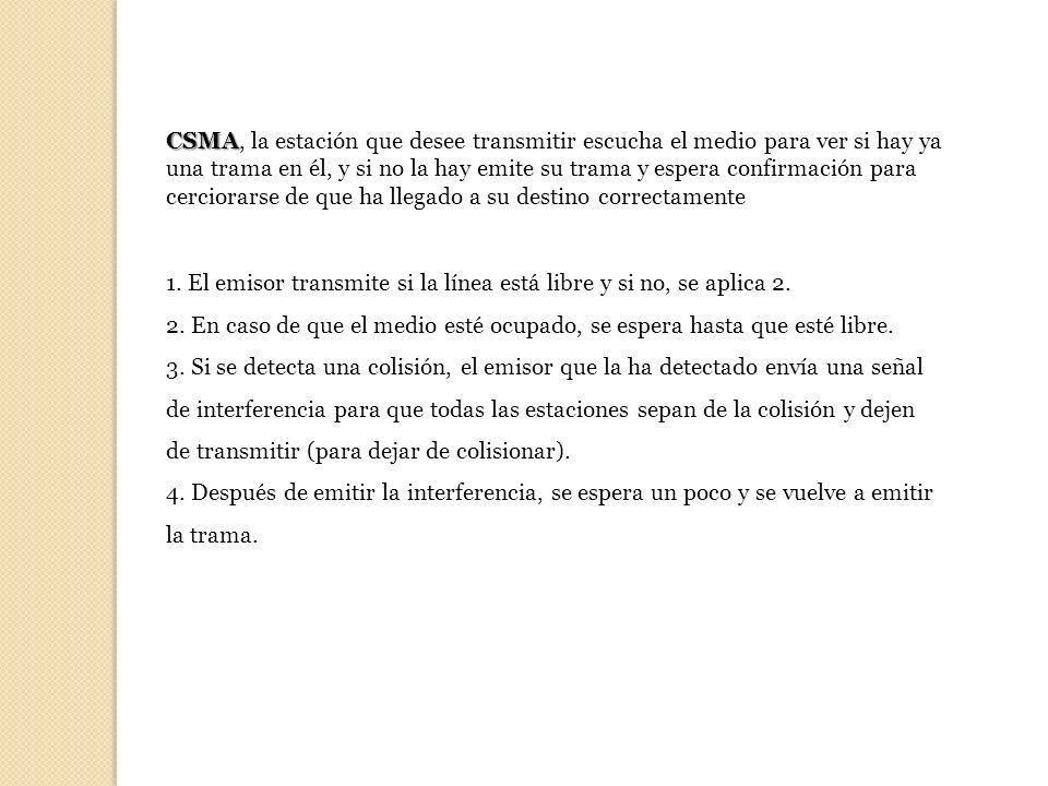 CSMA CSMA, la estación que desee transmitir escucha el medio para ver si hay ya una trama en él, y si no la hay emite su trama y espera confirmación p