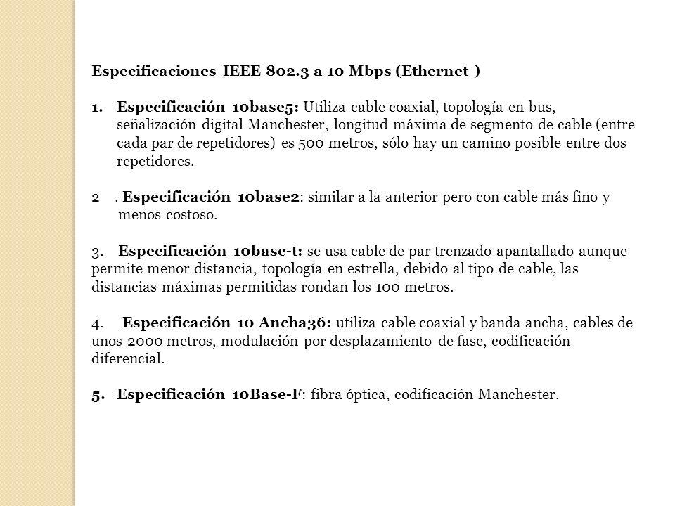 Especificaciones IEEE 802.3 a 10 Mbps (Ethernet ) 1.Especificación 10base5: Utiliza cable coaxial, topología en bus, señalización digital Manchester,