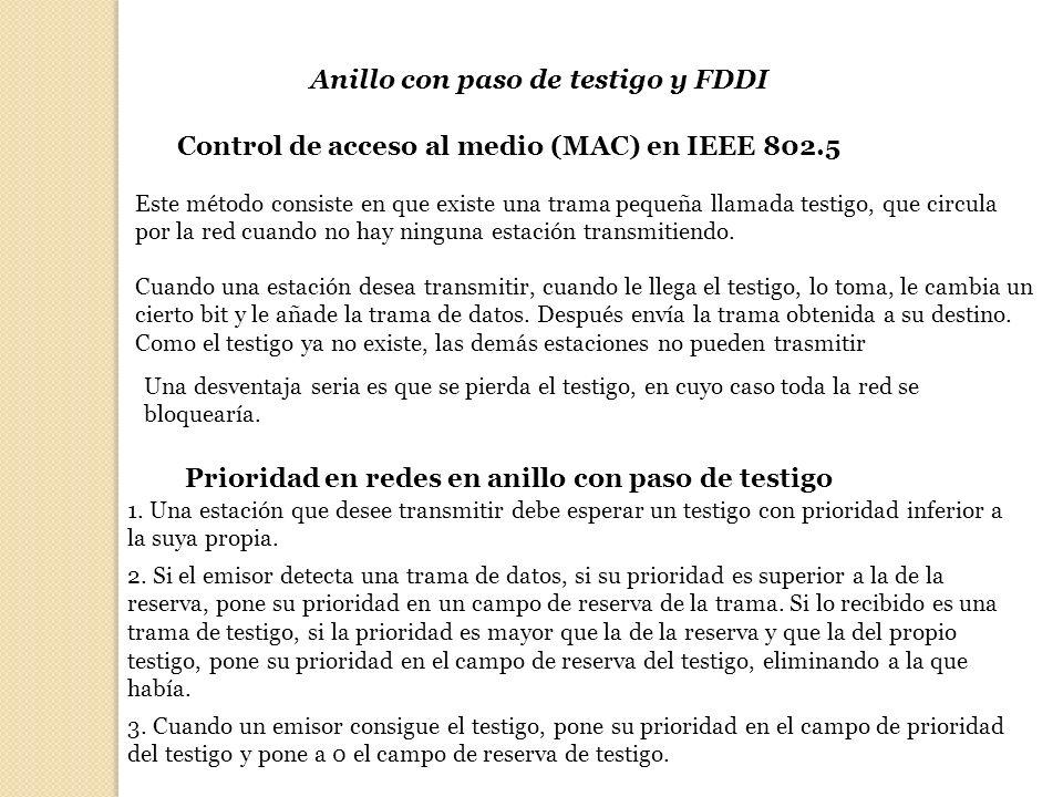 Anillo con paso de testigo y FDDI Control de acceso al medio (MAC) en IEEE 802.5 Este método consiste en que existe una trama pequeña llamada testigo,