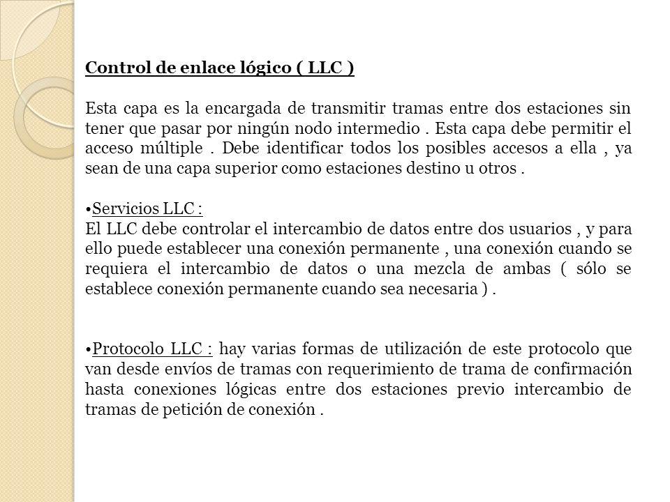 Control de enlace lógico ( LLC ) Esta capa es la encargada de transmitir tramas entre dos estaciones sin tener que pasar por ningún nodo intermedio. E