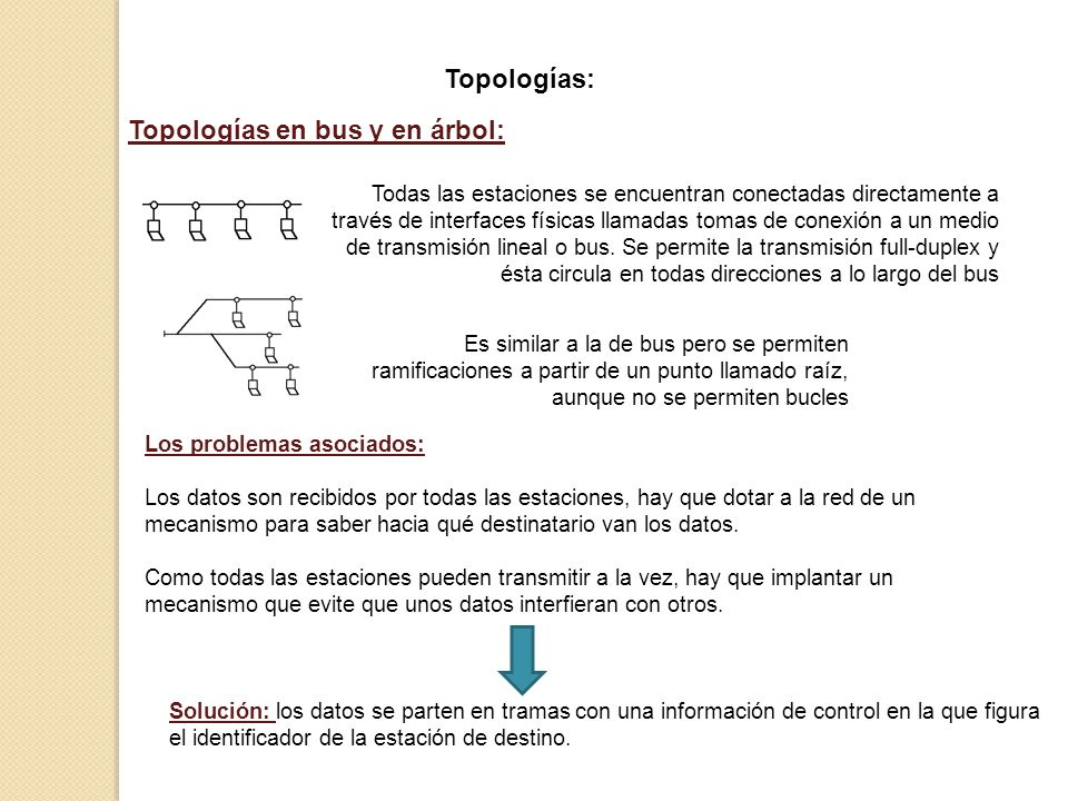 Topologías: Topologías en bus y en árbol: Todas las estaciones se encuentran conectadas directamente a través de interfaces físicas llamadas tomas de
