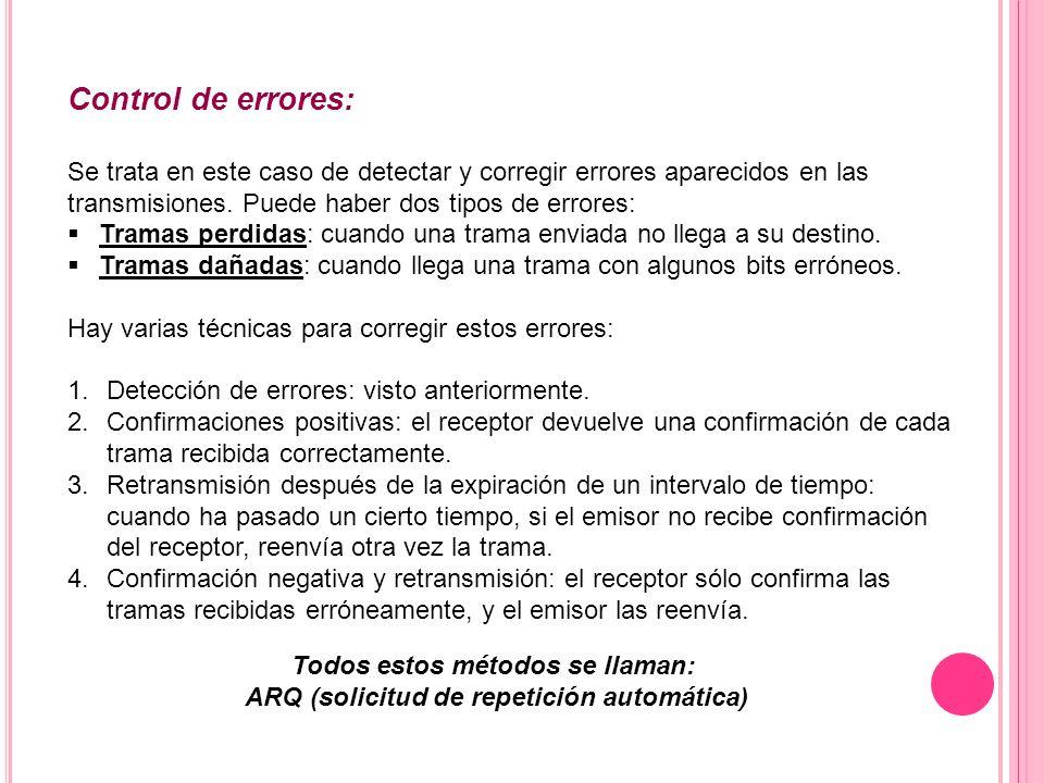 Control de errores: Se trata en este caso de detectar y corregir errores aparecidos en las transmisiones. Puede haber dos tipos de errores: Tramas per