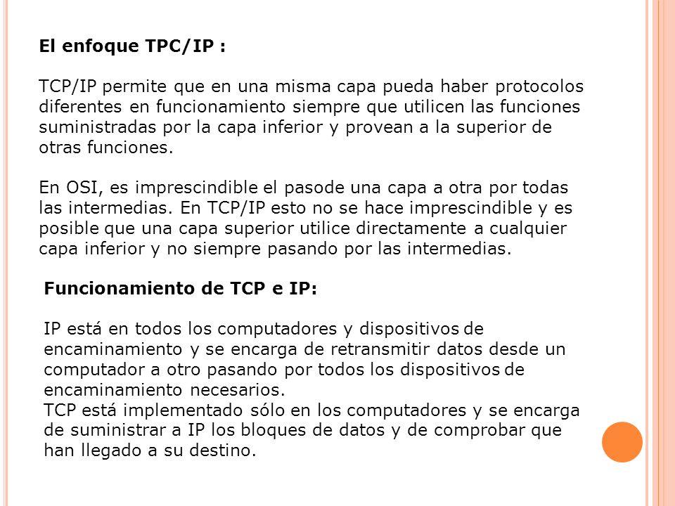 El enfoque TPC/IP : TCP/IP permite que en una misma capa pueda haber protocolos diferentes en funcionamiento siempre que utilicen las funciones sumini