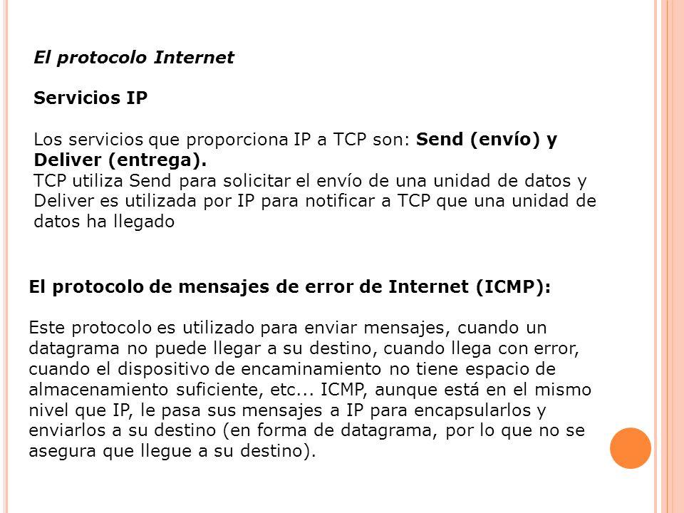 El protocolo Internet Servicios IP Los servicios que proporciona IP a TCP son: Send (envío) y Deliver (entrega). TCP utiliza Send para solicitar el en