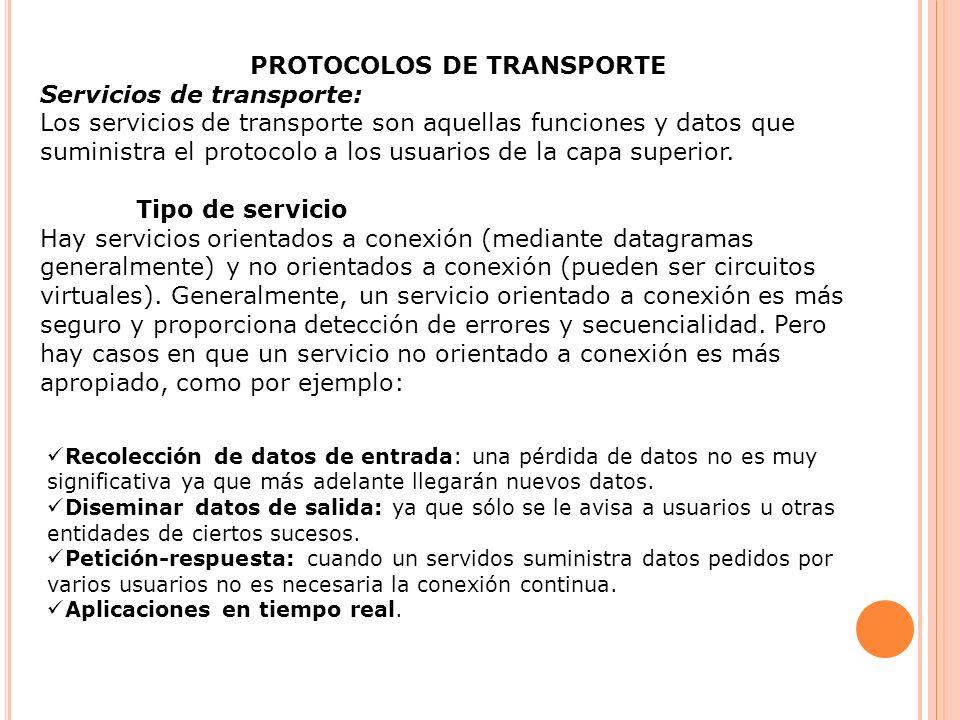 PROTOCOLOS DE TRANSPORTE Servicios de transporte: Los servicios de transporte son aquellas funciones y datos que suministra el protocolo a los usuario