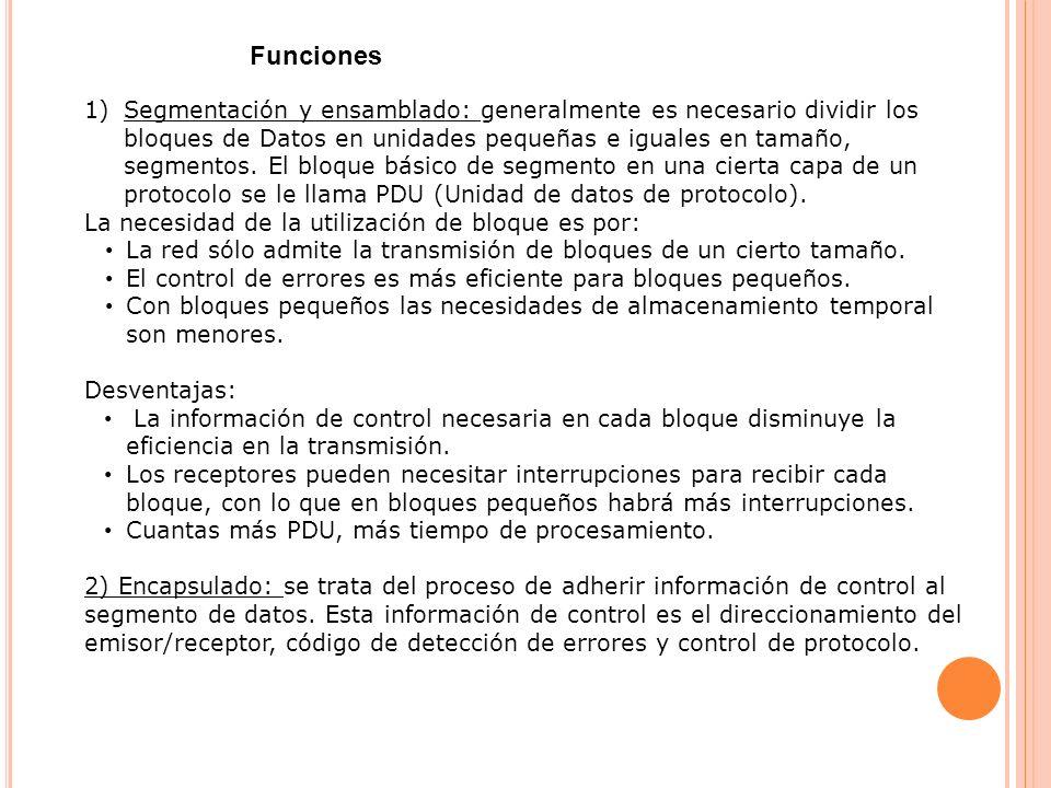3) Control de conexión: hay bloques de datos sólo de control y otros de datos y control.