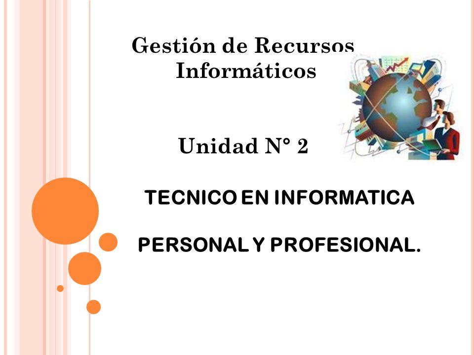Gestión de Recursos Informáticos Unidad N° 2 TECNICO EN INFORMATICA PERSONAL Y PROFESIONAL.