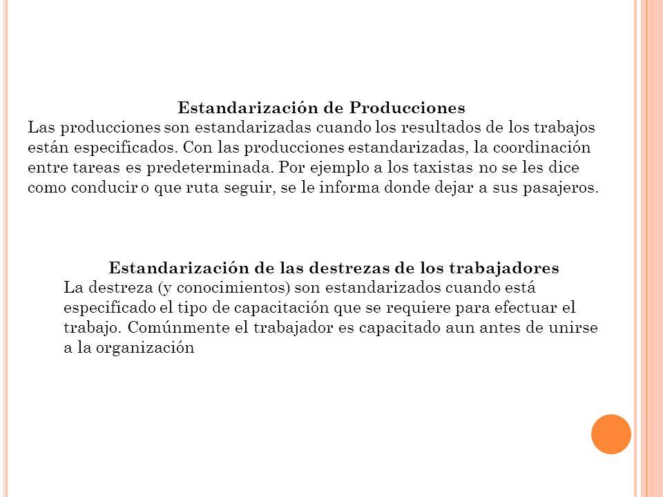 Estandarización de Producciones Las producciones son estandarizadas cuando los resultados de los trabajos están especificados. Con las producciones es