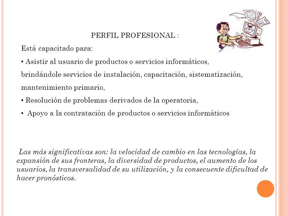 PERFIL PROFESIONAL : Está capacitado para: Asistir al usuario de productos o servicios informáticos, brindándole servicios de instalación, capacitació