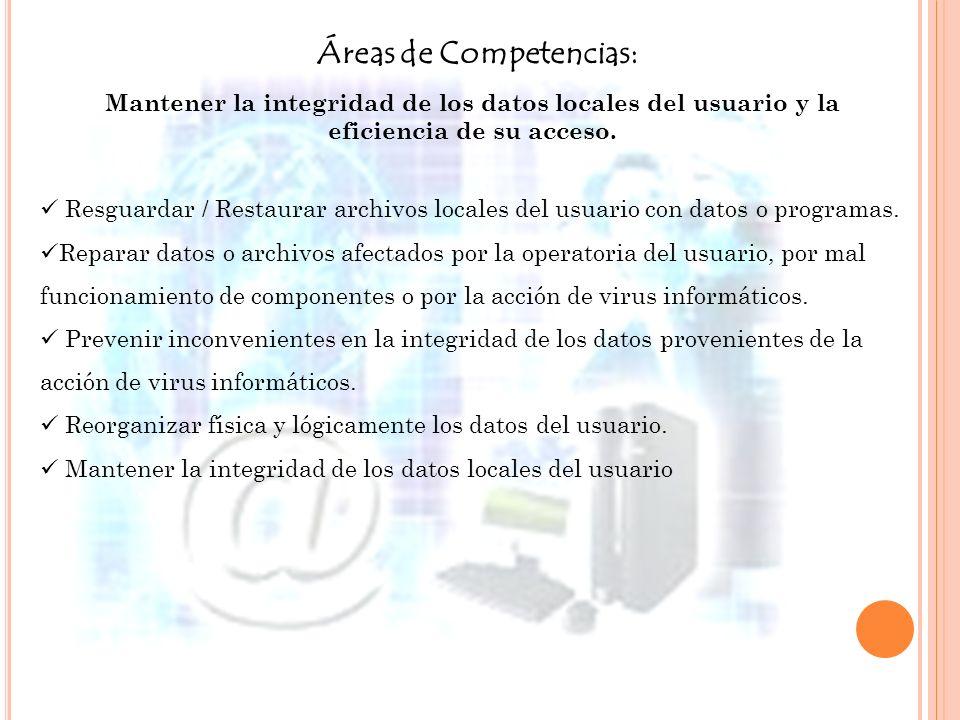 Áreas de Competencias: Mantener la integridad de los datos locales del usuario y la eficiencia de su acceso. Resguardar / Restaurar archivos locales d