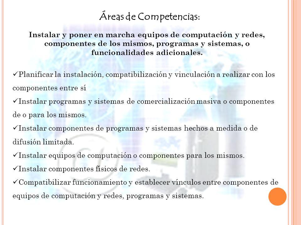 Áreas de Competencias: Instalar y poner en marcha equipos de computación y redes, componentes de los mismos, programas y sistemas, o funcionalidades a
