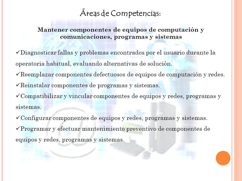 Áreas de Competencias: Mantener componentes de equipos de computación y comunicaciones, programas y sistemas Diagnosticar fallas y problemas encontrad