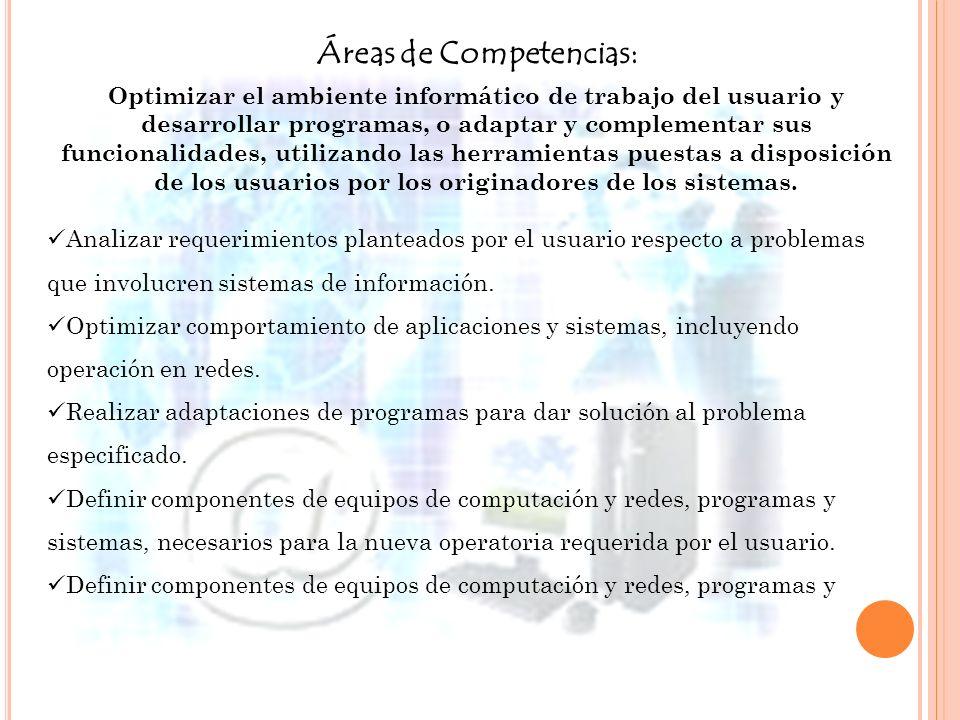 Áreas de Competencias: Optimizar el ambiente informático de trabajo del usuario y desarrollar programas, o adaptar y complementar sus funcionalidades,