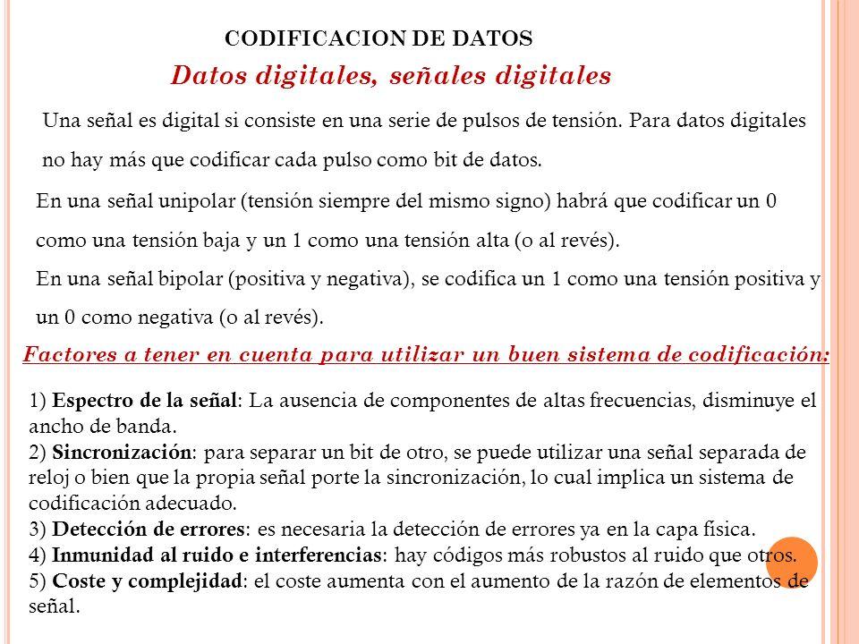 CODIFICACION DE DATOS Datos digitales, señales digitales Una señal es digital si consiste en una serie de pulsos de tensión. Para datos digitales no h