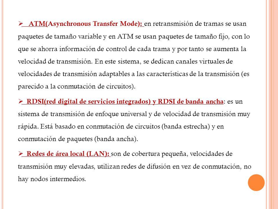 ATM(Asynchronous Transfer Mode): en retransmisión de tramas se usan paquetes de tamaño variable y en ATM se usan paquetes de tamaño fijo, con lo que s