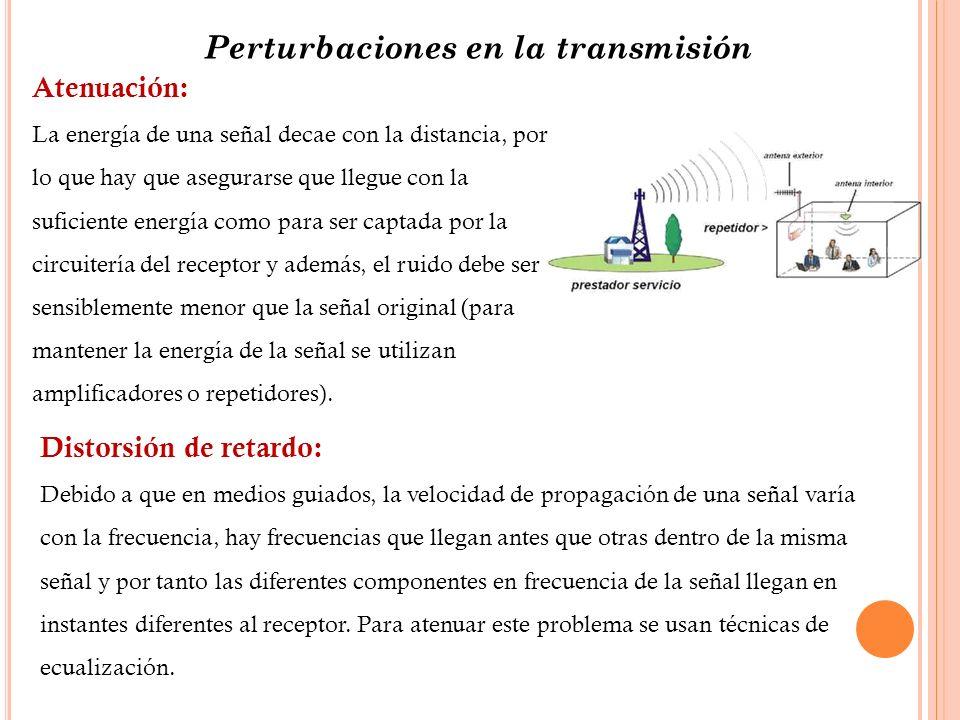 Perturbaciones en la transmisión Atenuación: La energía de una señal decae con la distancia, por lo que hay que asegurarse que llegue con la suficient