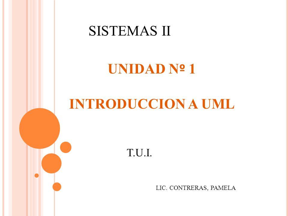 SISTEMAS II UNIDAD N º 1 INTRODUCCION A UML T.U.I. LIC. CONTRERAS, PAMELA