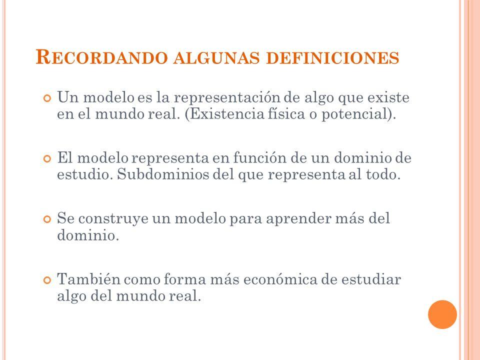 R ECORDANDO ALGUNAS DEFINICIONES Un modelo es la representación de algo que existe en el mundo real.