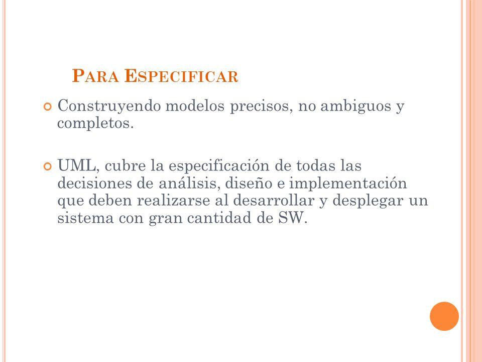 P ARA E SPECIFICAR Construyendo modelos precisos, no ambiguos y completos.