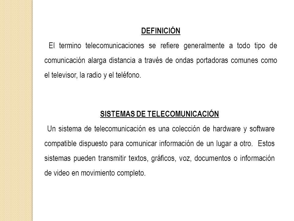 DEFINICIÓN El termino telecomunicaciones se refiere generalmente a todo tipo de comunicación alarga distancia a través de ondas portadoras comunes com