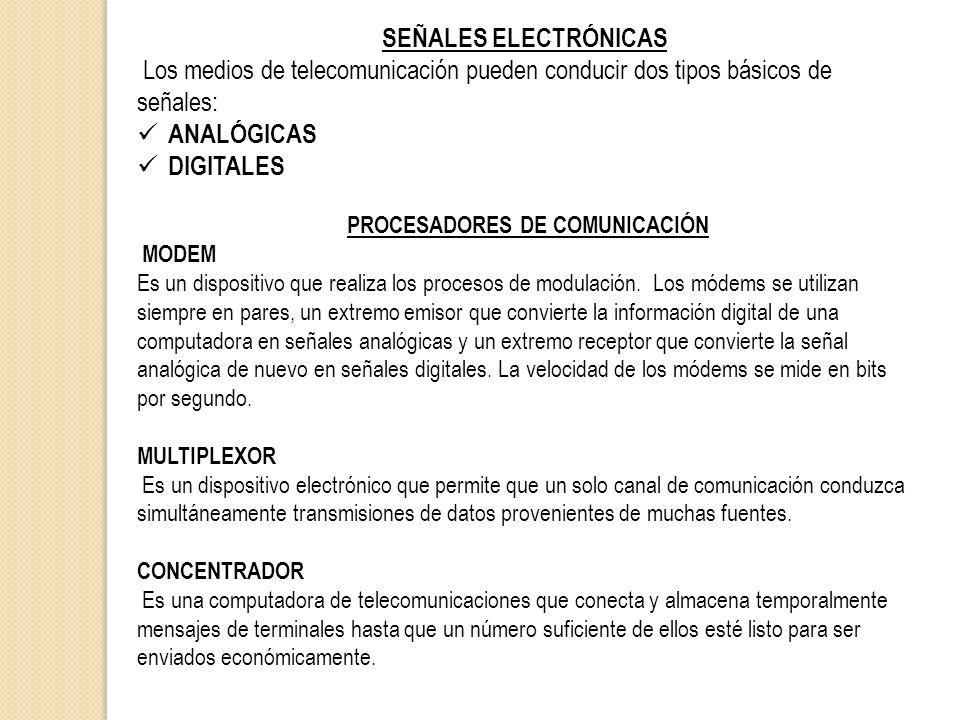 SEÑALES ELECTRÓNICAS Los medios de telecomunicación pueden conducir dos tipos básicos de señales: ANALÓGICAS DIGITALES PROCESADORES DE COMUNICACIÓN MO