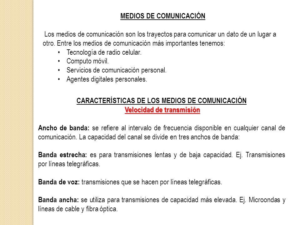 MEDIOS DE COMUNICACIÓN Los medios de comunicación son los trayectos para comunicar un dato de un lugar a otro. Entre los medios de comunicación más im