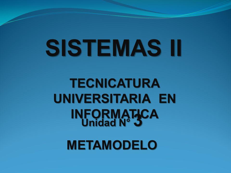 TECNICATURA UNIVERSITARIA EN INFORMATICA SISTEMAS II Unidad N° 3 METAMODELO