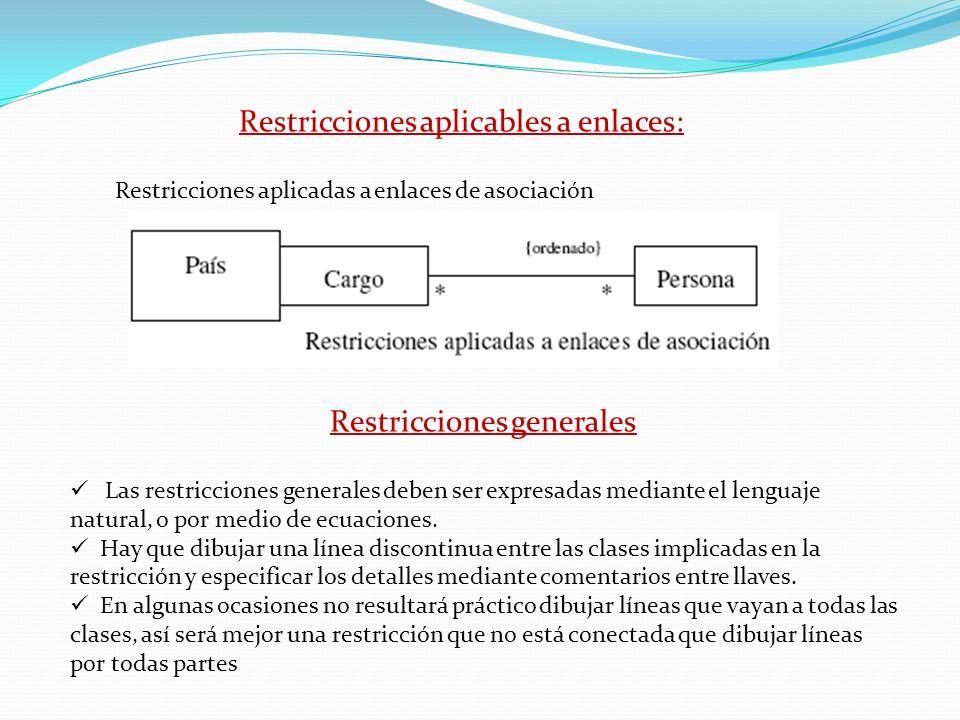 Restricciones aplicables a enlaces: Restricciones aplicadas a enlaces de asociación Restricciones generales Las restricciones generales deben ser expr