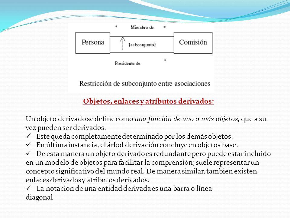 Objetos, enlaces y atributos derivados: Un objeto derivado se define como una función de uno o más objetos, que a su vez pueden ser derivados. Este qu