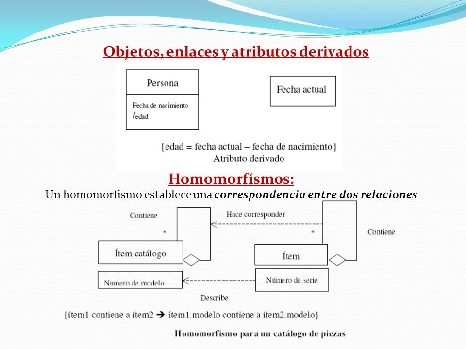Objetos, enlaces y atributos derivados Homomorfísmos: Un homomorfismo establece una correspondencia entre dos relaciones