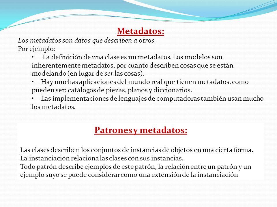 Metadatos: Los metadatos son datos que describen a otros. Por ejemplo: La definición de una clase es un metadatos. Los modelos son inherentemente meta