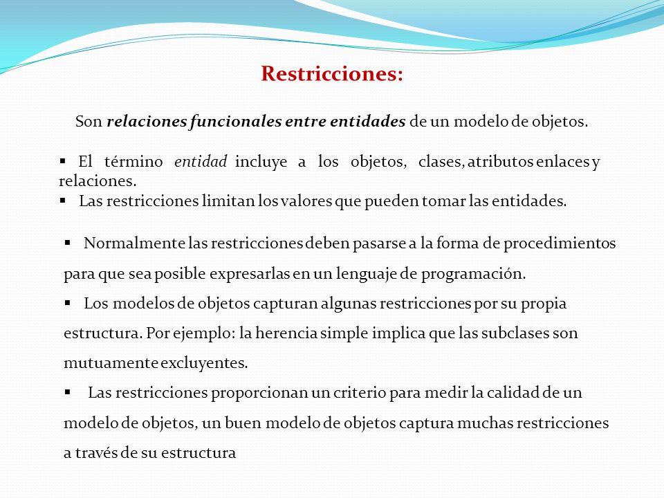 Restricciones: Son relaciones funcionales entre entidades de un modelo de objetos. El término entidad incluye a los objetos, clases, atributos enlaces