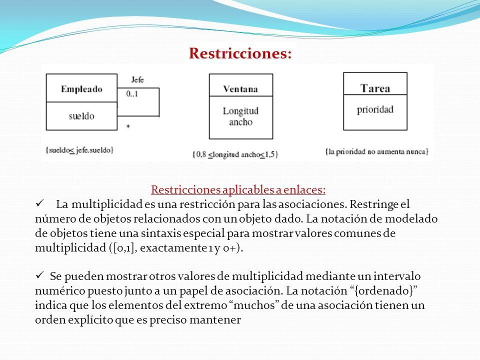 Restricciones: Restricciones aplicables a enlaces: La multiplicidad es una restricción para las asociaciones. Restringe el número de objetos relaciona