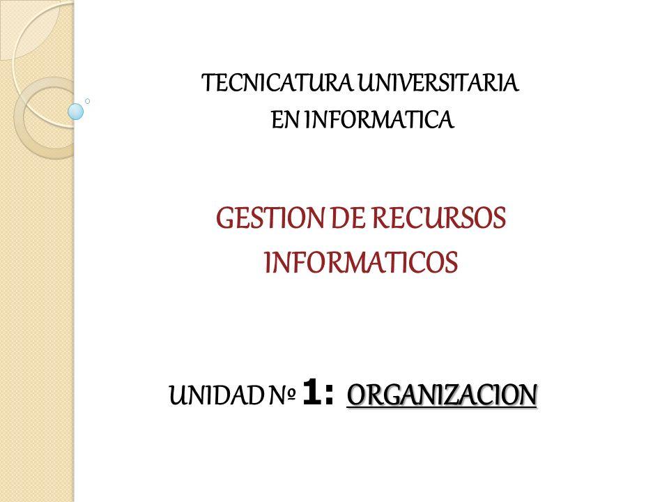 GESTION DE RECURSOS INFORMATICOS TECNICATURA UNIVERSITARIA EN INFORMATICA ORGANIZACION UNIDAD Nº 1: ORGANIZACION