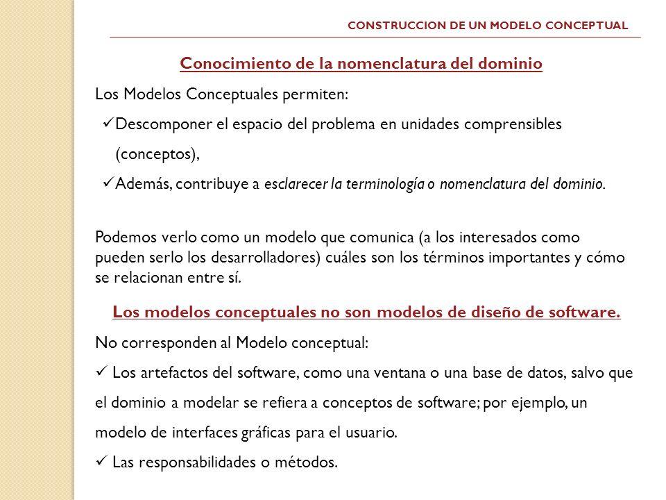 CONSTRUCCION DE UN MODELO CONCEPTUAL Conocimiento de la nomenclatura del dominio Los Modelos Conceptuales permiten: Descomponer el espacio del problem