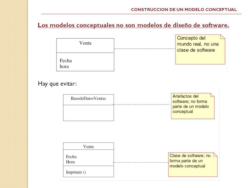 CONSTRUCCION DE UN MODELO CONCEPTUAL Hay que evitar: Los modelos conceptuales no son modelos de diseño de software.