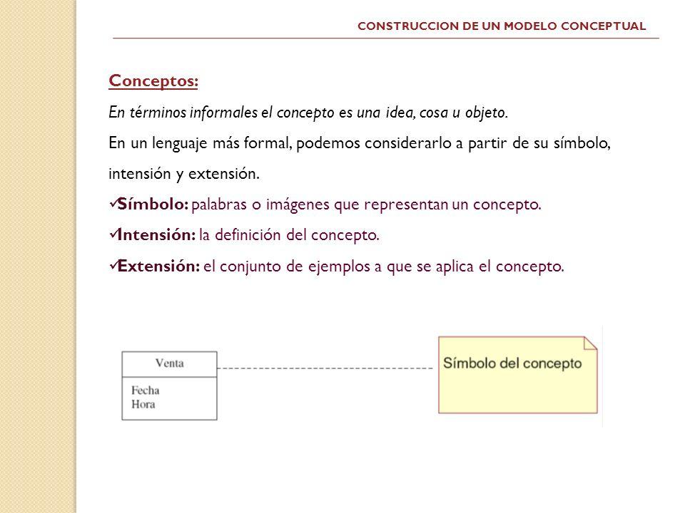 CONSTRUCCION DE UN MODELO CONCEPTUAL Conceptos: En términos informales el concepto es una idea, cosa u objeto. En un lenguaje más formal, podemos cons