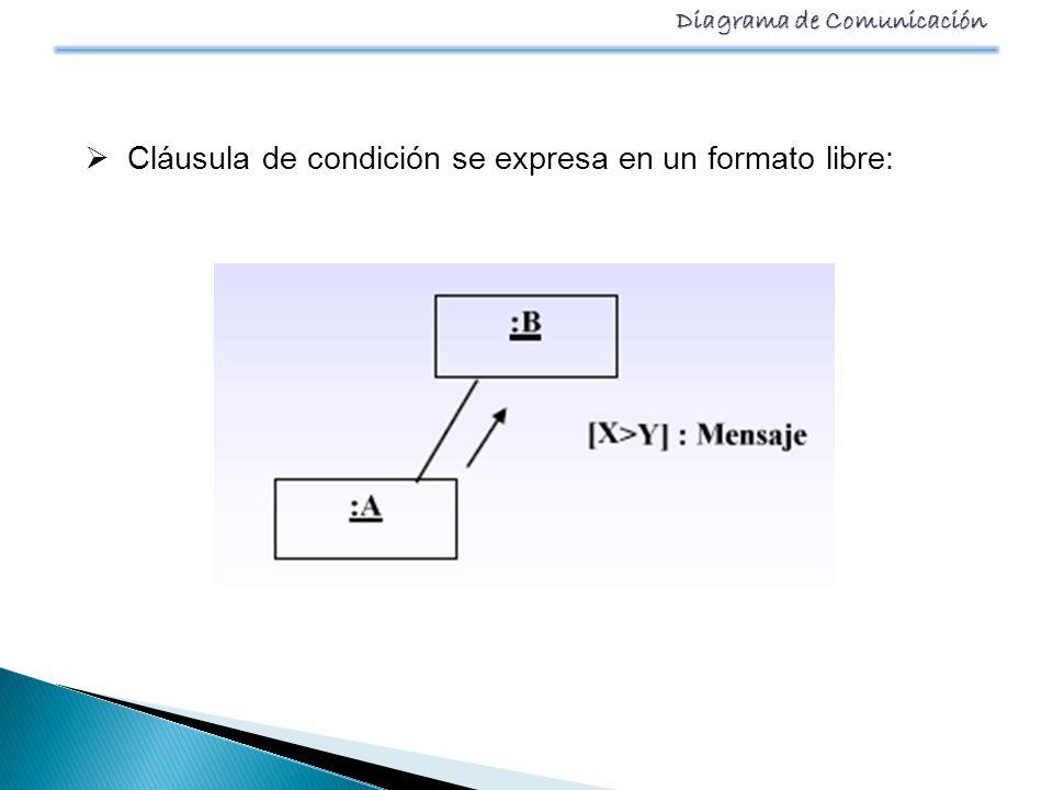 Diagrama de Comunicación Cláusula de condición se expresa en un formato libre: