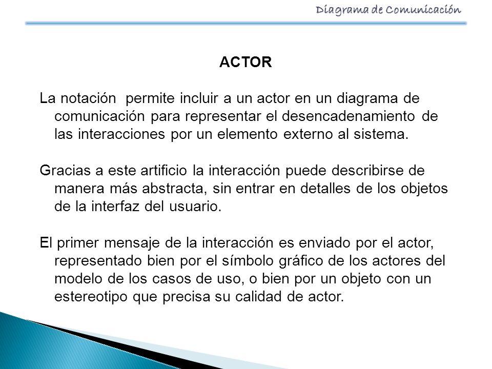 ACTOR La notación permite incluir a un actor en un diagrama de comunicación para representar el desencadenamiento de las interacciones por un elemento