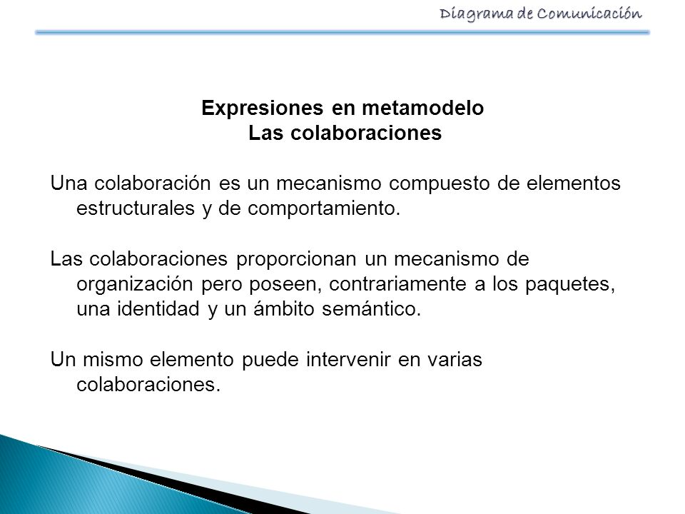 Diagrama de Comunicación Expresiones en metamodelo Las colaboraciones Una colaboración es un mecanismo compuesto de elementos estructurales y de compo