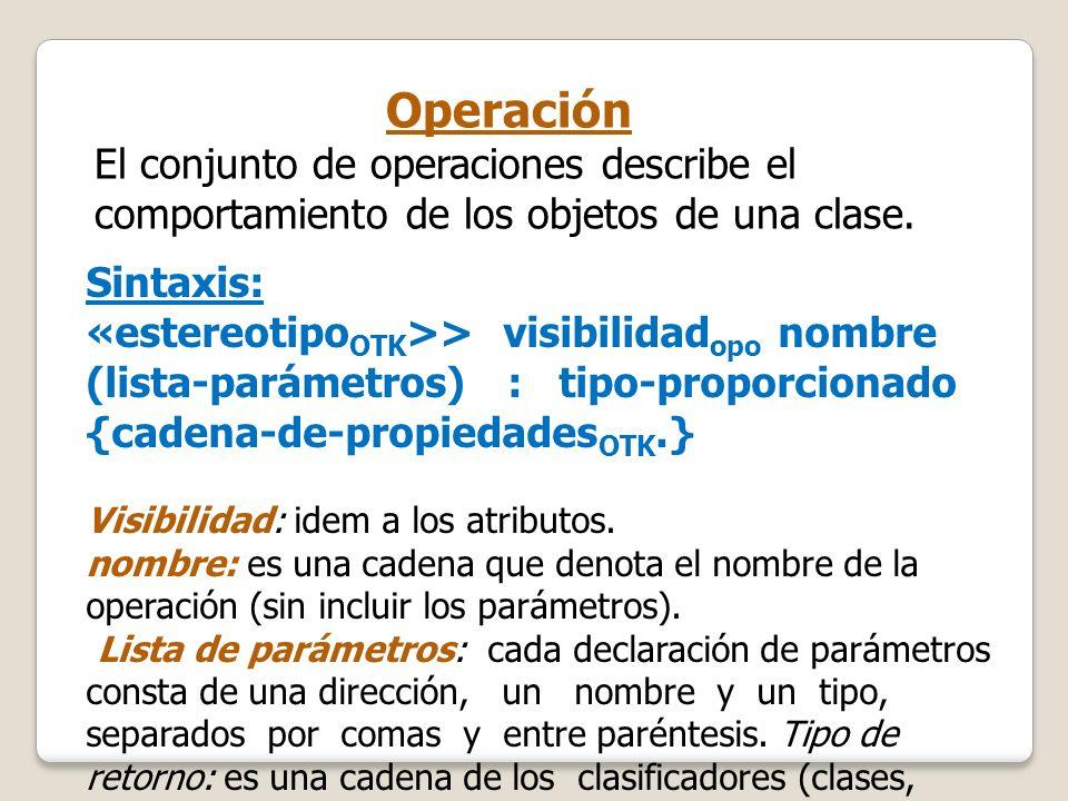 Operación El conjunto de operaciones describe el comportamiento de los objetos de una clase. Sintaxis: «estereotipo OTK >> visibilidad opo nombre (lis
