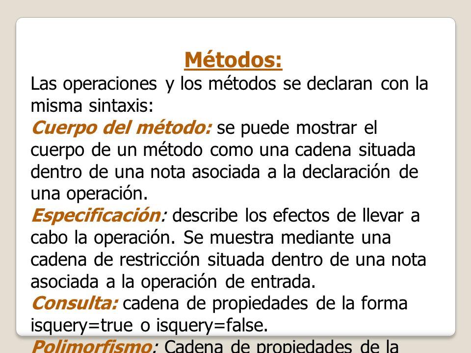 Métodos: Las operaciones y los métodos se declaran con la misma sintaxis: Cuerpo del método: se puede mostrar el cuerpo de un método como una cadena s