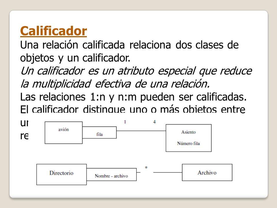 Calificador Una relación calificada relaciona dos clases de objetos y un calificador. Un calificador es un atributo especial que reduce la multiplicid