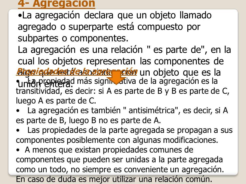 4- Agregación La agregación declara que un objeto llamado agregado o superparte está compuesto por subpartes o componentes. La agregación es una relac