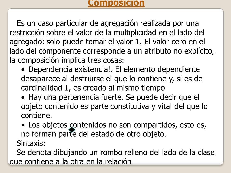 Composición Es un caso particular de agregación realizada por una restricción sobre el valor de la multiplicidad en el lado del agregado: solo puede t