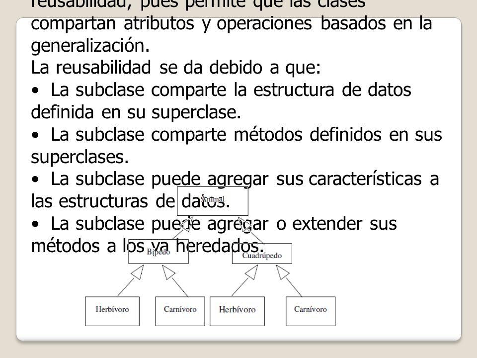 La herencia es un poderoso mecanismo de reusabilidad, pues permite que las clases compartan atributos y operaciones basados en la generalización. La r