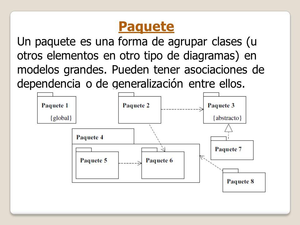 Paquete Un paquete es una forma de agrupar clases (u otros elementos en otro tipo de diagramas) en modelos grandes. Pueden tener asociaciones de depen
